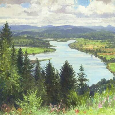 YOUNGS RIVER ASTORIA oil on linen canvas 30x30 by Curt Walters