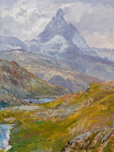 the matterhorn from gornergrat station 16x12 painting by Curt Walters