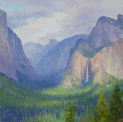 yosemite valley 24x24 painting by Curt Walters