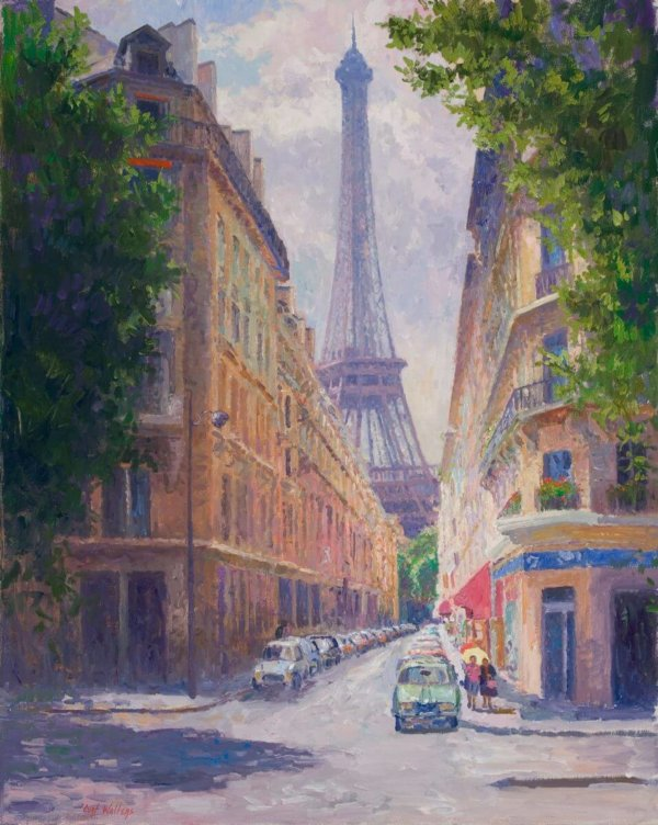 Rue de Monttessuey, Paris. oil 30x24 Painting by Curt Walters