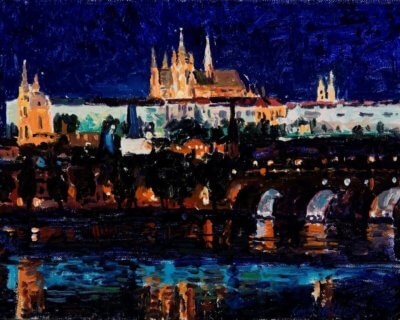 Prague- Charles Bridge Nocturne 8x10 Oil Painting by Curt Walters